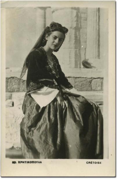 kriticopoula donna in costume tipico cretese vecchia cartolina tradizione